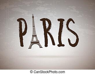 Paris label over vintage bakground vector illustration