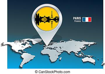 paris, landkarte, skyline, stift