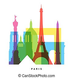 Paris landmarks bright collage