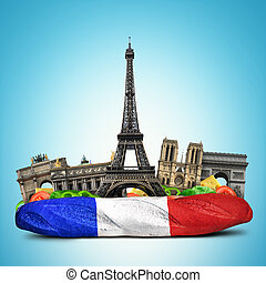 Paris landmarks, French baguette sandwich, funny collage