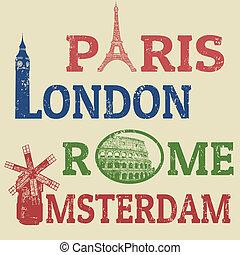 Paris, London, Rome and Amsterdam stamps - Paris,London,Rome...