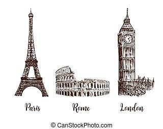 Paris, London Rome. Set of European capitals symbols. Eiffel tower, Coliseum, Big Ben