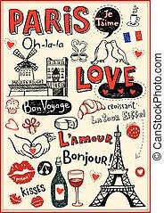 Paris love doodles - Paris - a city of love and romantce.