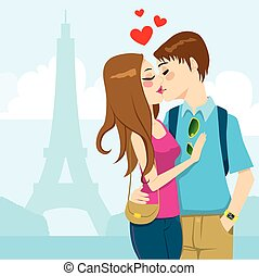 Paris Love Kiss - Young couple kissing passionately full of...