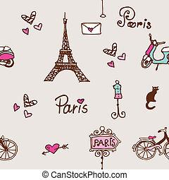 paris, mönster, seamless, bakgrund