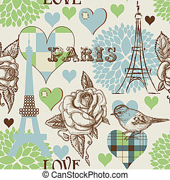 paris, mönster, seamless