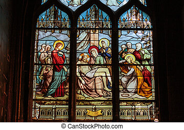 paris, manchado, -, janela vidro, igreja, saint-severin