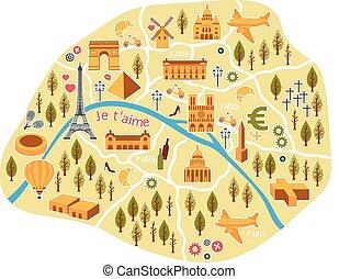 Tourists paris map . Useful Interactive Map of Paris