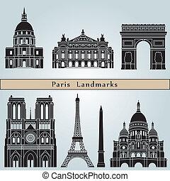 paris, marcos, e, monumentos