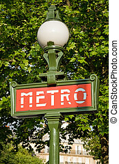 Paris metro entrance sign