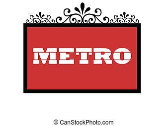 Paris Metro sign isolated on white background.