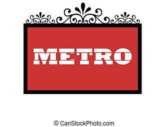 Paris Metro sign isolated on white background.