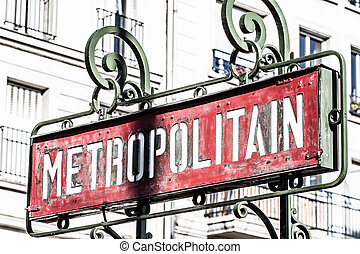 Paris Metro subway sign ( HDR image )