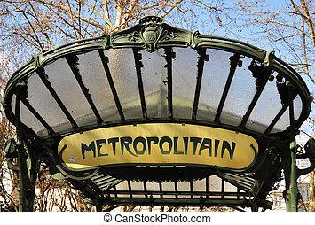 paris, metropolitain, retro, sinal