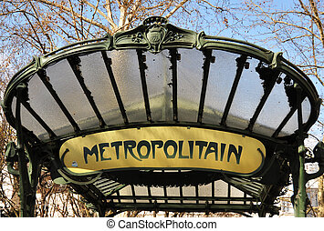 paris, metropolitain, retro, zeichen