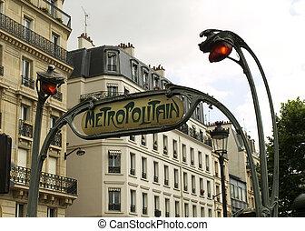 paris, metropolitain, signe