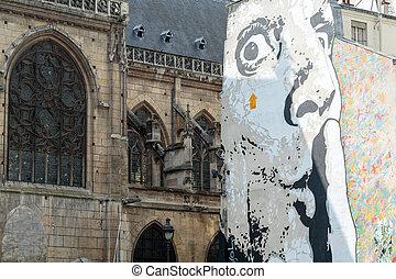 paris, -, mur, rempli, à, graffiti, près, centre pompidou