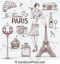 paris, note, ensemble, livre, page
