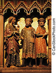 Paris, Notre Dame cathedral, Jesus and two disciple on the road to Emmaus