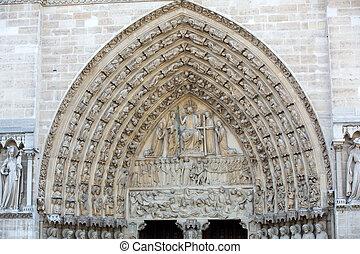 Paris, Notre Dame Cathedral - Last Judgment Portal - Paris, ...