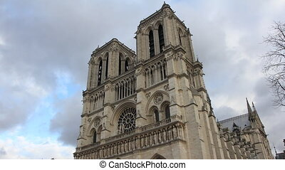 Paris - Notre Dame Cathedral. Time Lapse.