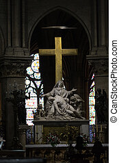 Paris - Notre Dame Cathedral. The Statue of La Pieta' on the...
