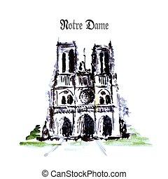 paris, notre, de, hand, aquarell, drawing., france., kathedrale, dame