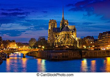 paris, notre, frança, noturna, catedral, senhora