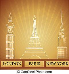 paris, novo, londres, york, monumentos