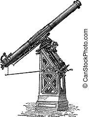 paris, observatorium teleskop, gerufen, engraving., weinlese, äquatorial