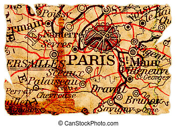 Paris old map - Paris on an old torn map with the eiffel...