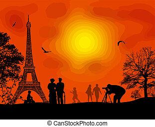 Paris on beautiful orange sunset