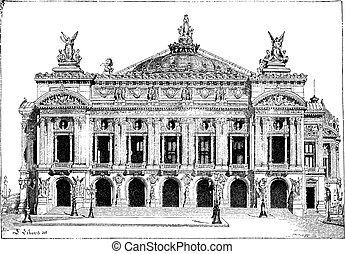 Paris Opera, in Paris, France, vintage engraving