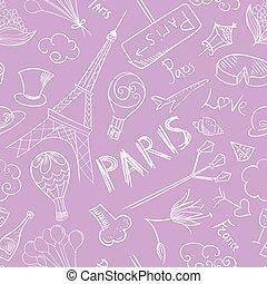 paris, padrão, esboço, vetorial