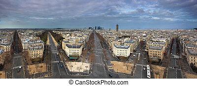 paris, panorama, de, arco, triunfo