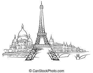 paris, panorama, skizze, frankreich