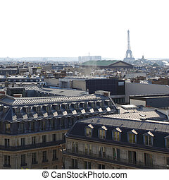 paris, panorama, torn, eiffel, synhåll