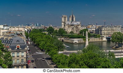 Paris Panorama with Cite Island and Cathedral Notre Dame de...