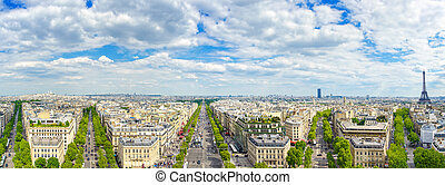 Paris, panoramic aerial view of Champs Elysees and other...