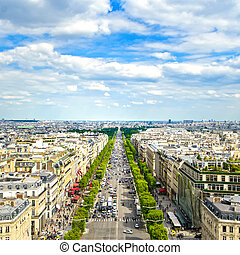 Paris, panoramic aerial view of Champs Elysees. France -...