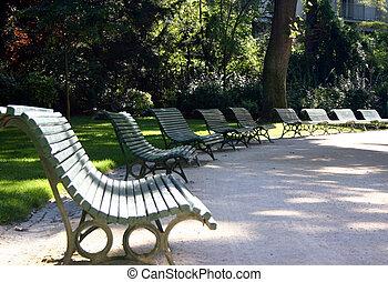 Park benches in the Park Monceau Paris