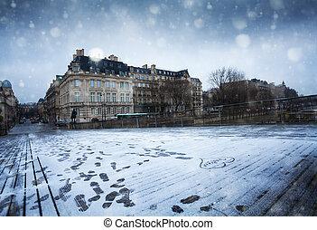 Paris Passerel Leopold Sedar Senghor under snow - Paris ...