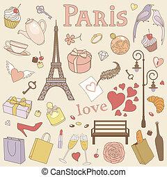 paris, pastel, jogo