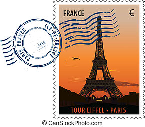 Vector postmark with sight of eiffel tower at sunset