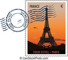 Paris pastmarka 02 - Vector postmark with sight of eiffel ...