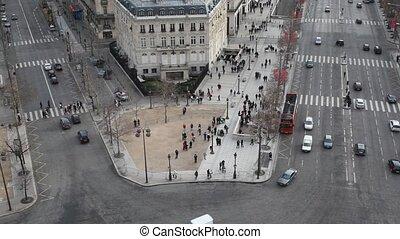 paris, piétons, rue, voitures