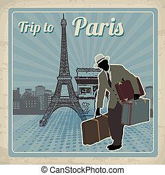 paris, plakat, reise, retro