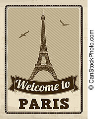 paris, plakat, retro