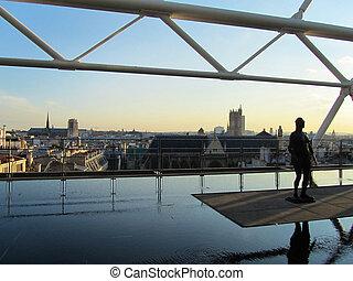 paris, pompidou, coucher soleil, centre