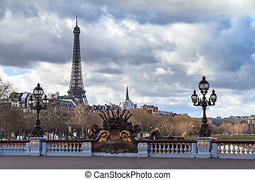 Beautiful view of the Pont Alexandre III in Paris, with the Eiffel tower in the background, on a cloudy winter day